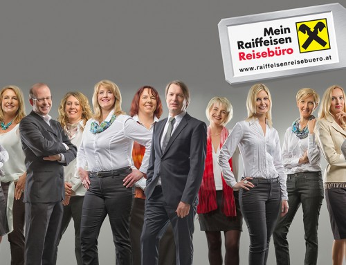 "Shooting with 53 employees for ""Steirisches Raiffeisen Reisebüro"""